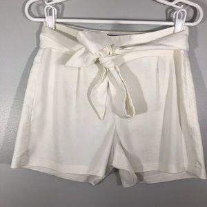 Express White Sash Tie Linen Blend Shorts
